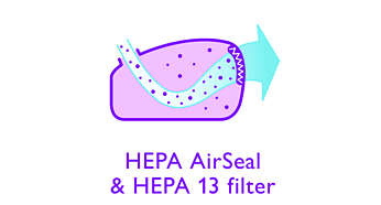 HEPA AirSeal plus HEPA 13 washable filter