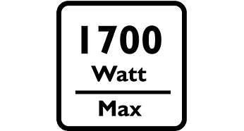Motor van 1700 W genereert een zuigkracht van 330 W