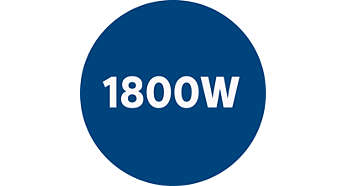 El motor de 1800W genera una potencia máxima de succión de 350W