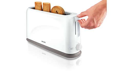 Fonction surélevage pour un retrait facile des petites tranches de pain