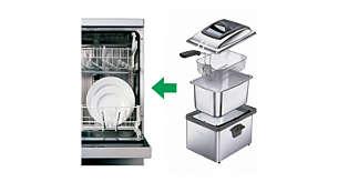 Todas as partes, exceto o painel de controle, são próprias para máquina lava-louças