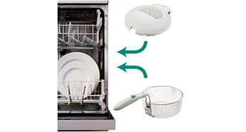The frying basket and detachable lid are dishwashable