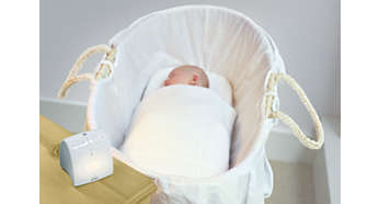 Soft glow comforts baby if it wakes