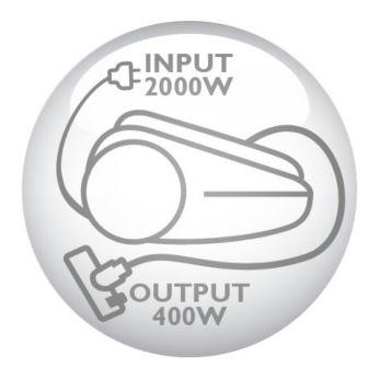 Мотор мощностью 2000Вт, обеспечивающий мощность всасывания 400Вт