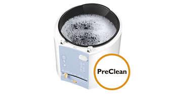Funcţie PreClean pentru înmuierea recipientului interior în apă fierbinte