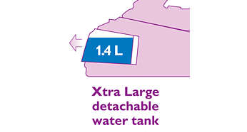 Xtra large detachable 1.4 liter water tank