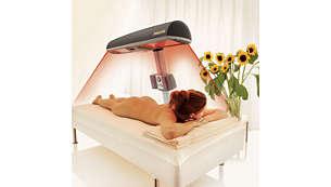 Reflektorių sistema užtikrina tolygų viso kūno įdegį