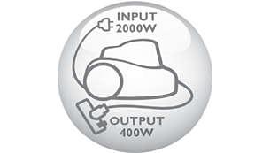 2000 Watt motor generating max. 400 Watt suction power