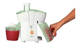 Gör juice utan avbrott med den löstagbara fruktköttsbehållaren på 500ml