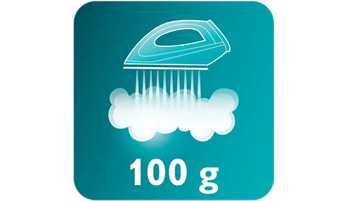 Dampfstoß von 100g glättet ohne Mühe auch hartnäckige Falten