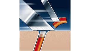 Tecnología de afeitado Súper Levanta y Corta con sistema de doble cuchilla