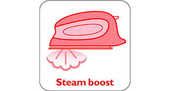Steam boost helps to easily remove stubborn creases