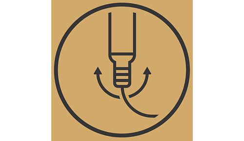 Obrotowe połączenie przewodu sieciowego zapobiega plątaniu przewodu