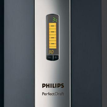 Indications de température, de volume et de fraîcheur sur écran LCD