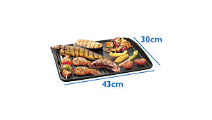 Extra-large grilling surface for family-sized servings