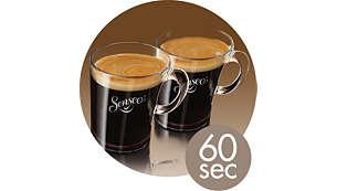 1 o 2 tazze di caffè SENSEO® in meno di un minuto