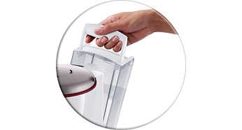 Odnímateľný zásobník na vodu umožňuje jednoduché dolievanie