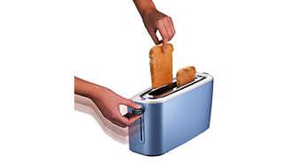 Liftfunctie om veilig kleine sneetjes brood te verwijderen