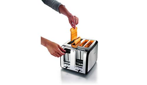 Hög upphöjningsfunktion för att ta ur små brödbitar på ett säkert sätt