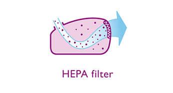 HEPA-filter voor uitstekende filtering van de uitblaaslucht