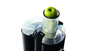 Du behöver inte skära upp frukten i förväg tack vare det extra stora inmatningsröret