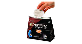 The SENSEO® Espresso podholder and the SENSEO® Espresso coffee pods.