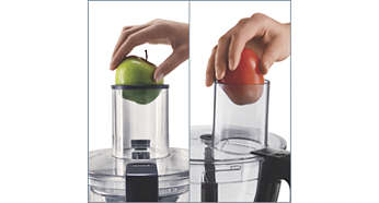 O bocal de alimentos extralargo absorve frutas, legumes e verduras inteiros