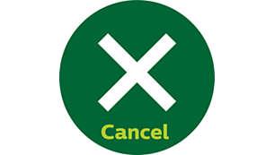 Botón de cancelar para detener el proceso de tostado en cualquier momento