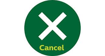 Botão de cancelamento para interromper a torragem a qualquer momento