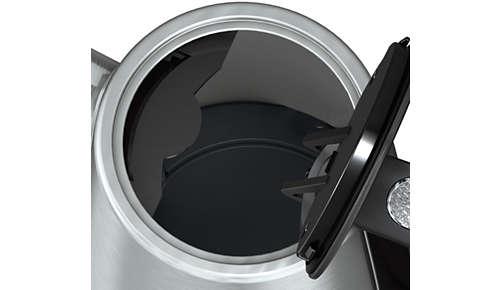 Víko spružinou a velkým otvorem pro snadné plnění a čištění