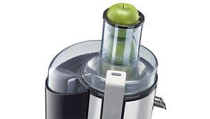 O bocal de alimentação extralargo absorve até frutas, legumes e verduras inteiros ou em grandes pedaços