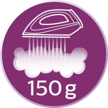 Hơi phun tăng cường lên đến 150 g giúp ủi thẳng dễ dàng các nếp nhăn khó ủi
