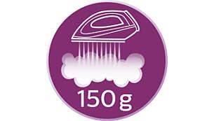 Acione 150g de vapor extra para eliminar facilmente o amarrotado das roupas