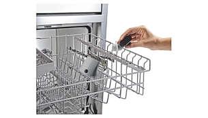One-step click-off nozzle, dishwasher safe