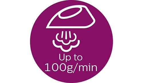 Continu stoom tot 100 g/min.