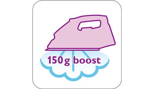 150g Dampfleistung glättet ohne Mühe auch hartnäckige Falten