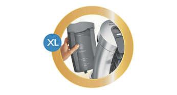 Großer abnehmbarer Wasserbehälter, der seltener aufgefüllt werden muss