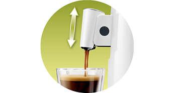 A választott csészének megfelelően beállítható kifolyó
