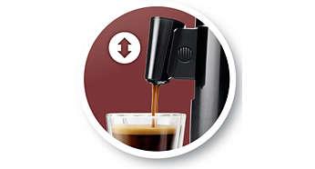 Höhenverstellbarer Kaffeeauslauf für Ihre Lieblingstasse