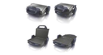 Többféle grillezési pozíció: zárt, teljesen nyitott, és gratin grillezés