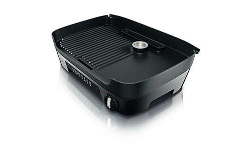 La superficie scanalata e piatta consente di friggere, grigliare e molto altro