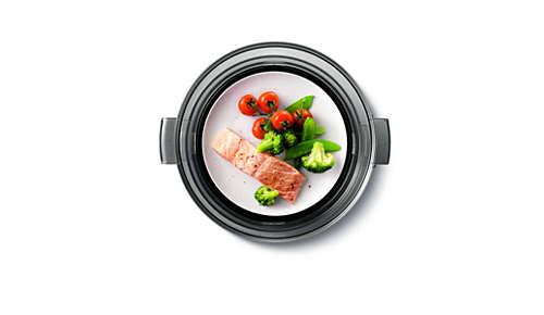 De warmhoudfunctie houdt het voedsel warm voor het serveren