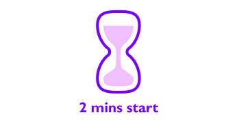 Snel beginnen: minder dan 2 minuten opstarttijd