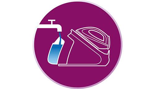 Füllen Sie den Wassertank jederzeit auf, selbst während des Bügelns.