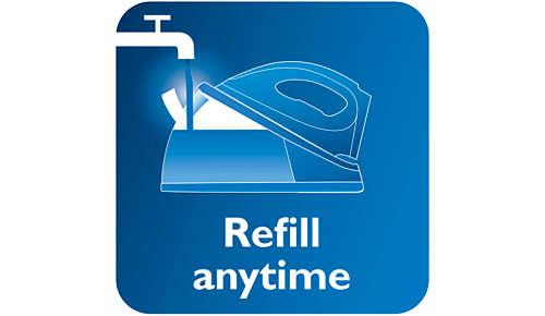 U kunt op elk moment het waterreservoir bijvullen, zelfs tijdens het strijken