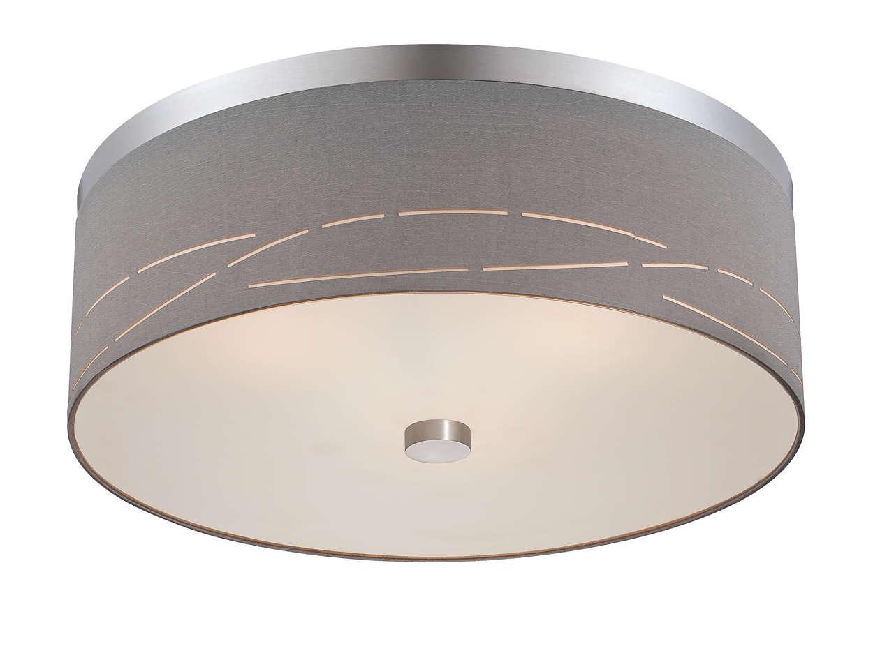 Silver Laser 3-light ceiling fixture, Satin Nickel