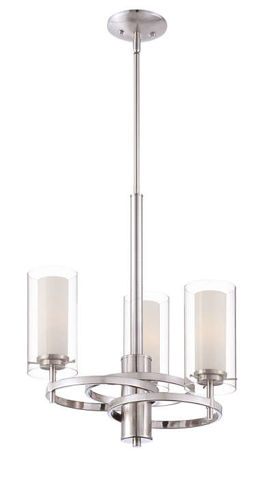 Hula 3-light chandelier in Satin Nickel finish
