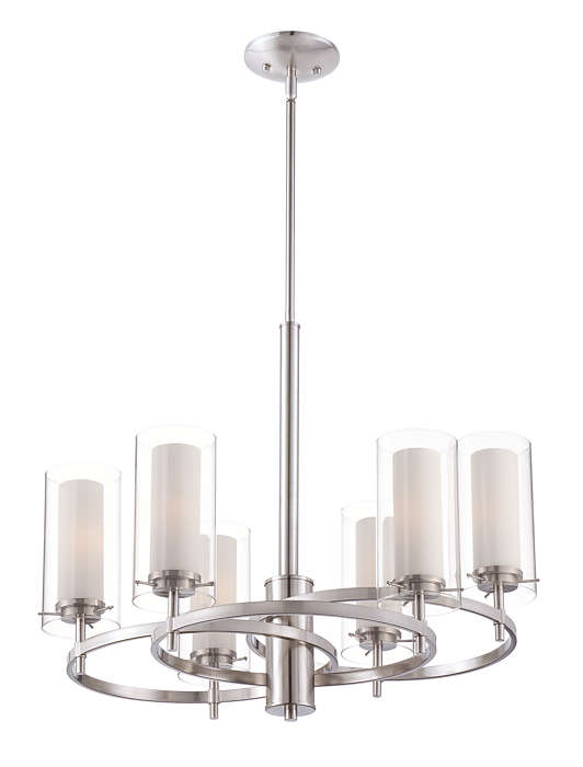 Hula 6-light chandelier in Satin Nickel finish