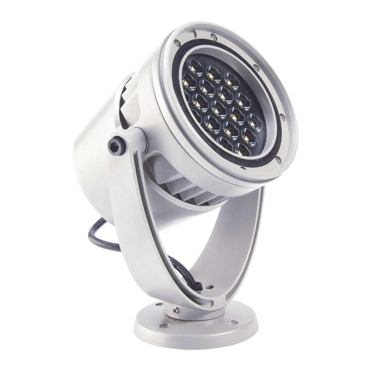 eW Burst Powercore – högeffektiv, utomhusklassad vit spotlight för accent- och platsbelysning