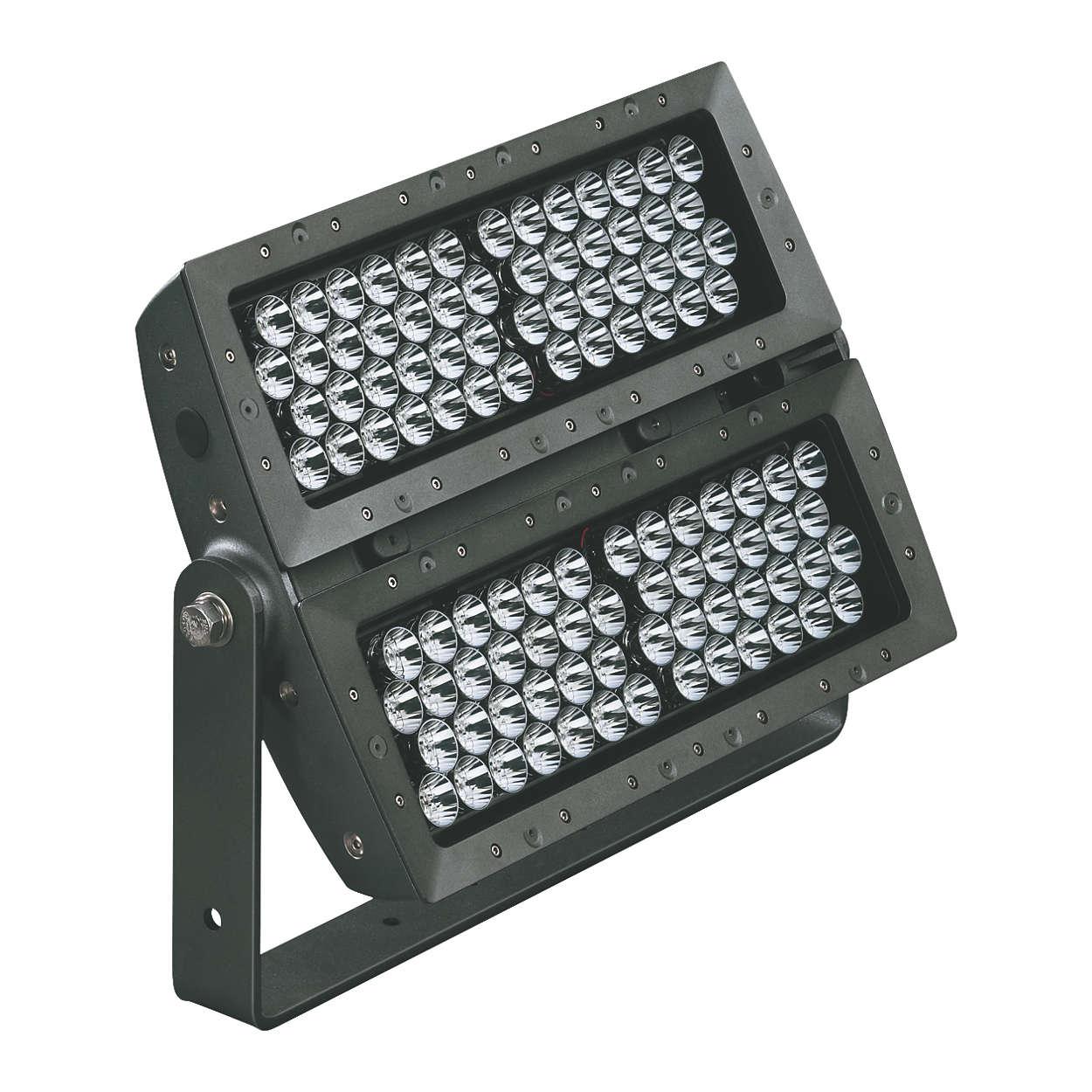 eColor Reach Powercore — wysokiej jakości dalekosiężny kompaktowy odbłyśnik LED do montażu zewnętrznego z inteligentnie sterowanym kolorowym światłem